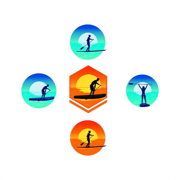 Logo paddle Vettore Premium