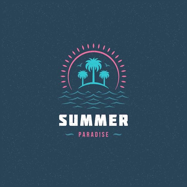 Logo paradiso estivo con palme Vettore Premium