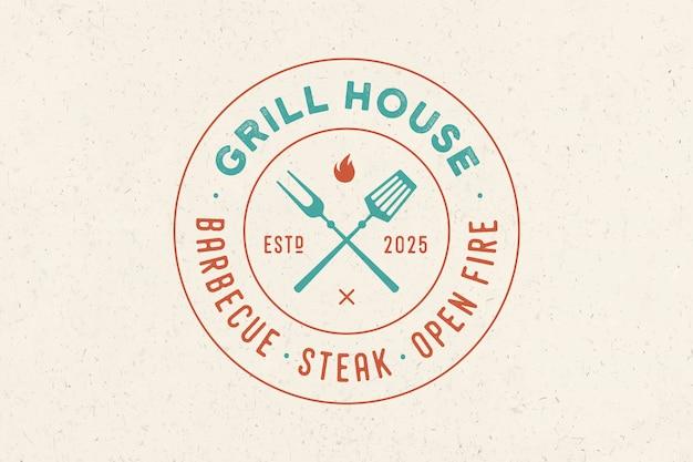 Logo per il ristorante grill house Vettore Premium