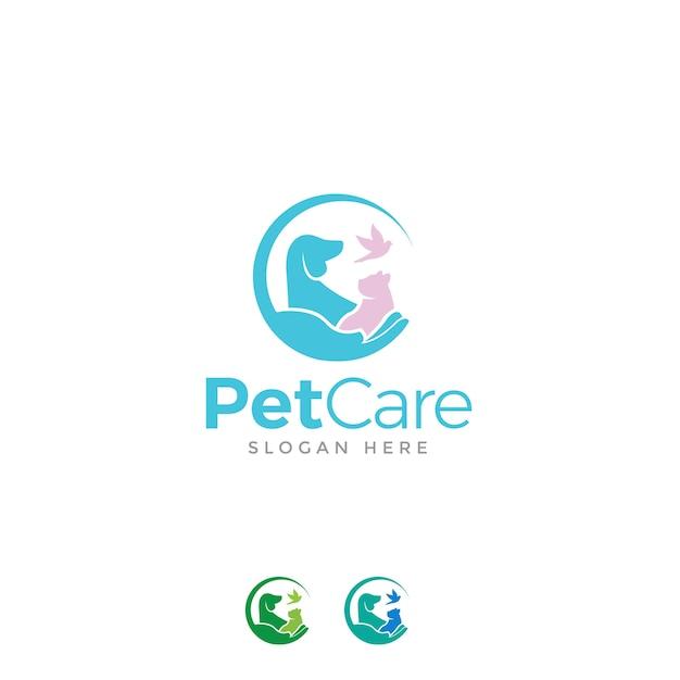Logo per la cura degli animali domestici Vettore Premium