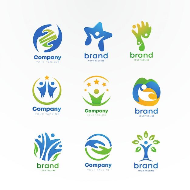 Logo per la cura della comunità Vettore Premium