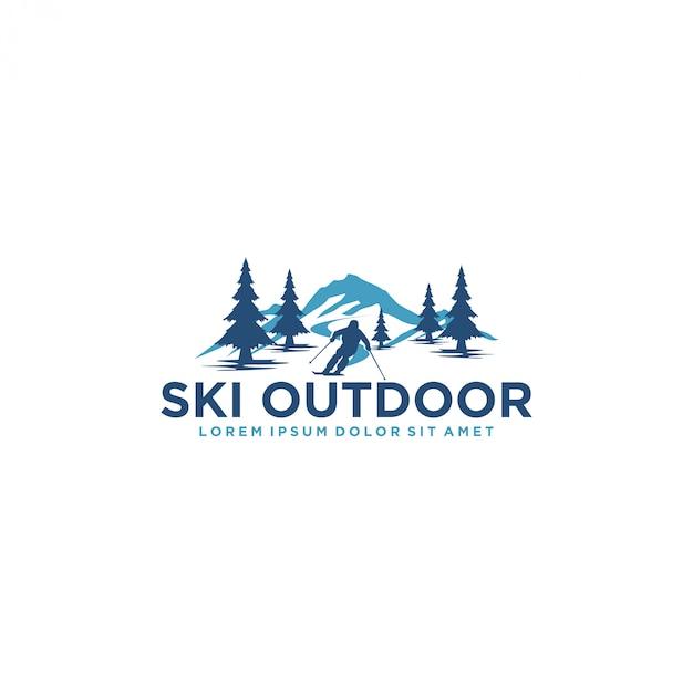 Logo per sciare con una silhouette di sciatore Vettore Premium