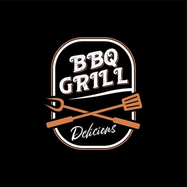 Logo per un ristorante barbecue con uno stile vintage Vettore Premium