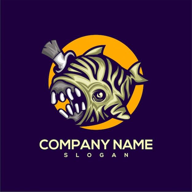Logo pesce mostro Vettore Premium