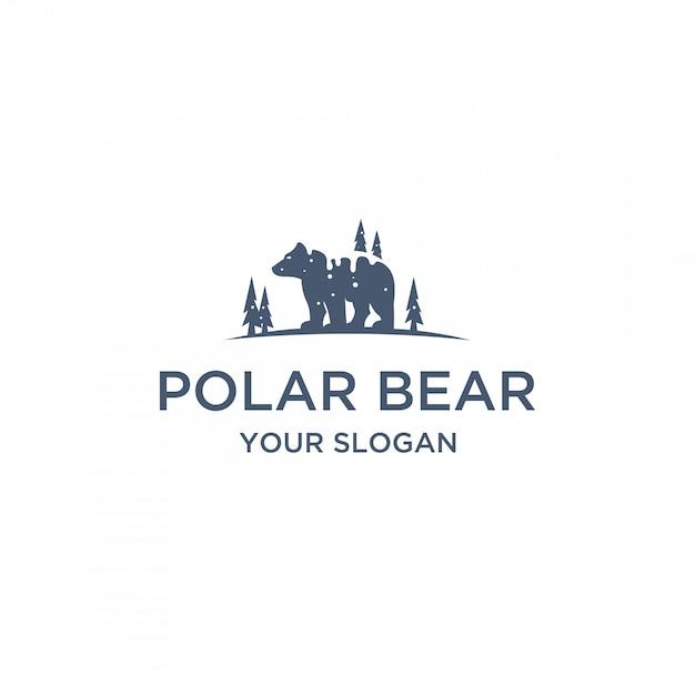 Logo piatto orso polare Vettore Premium