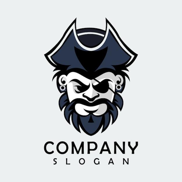 Logo pirata nero Vettore Premium
