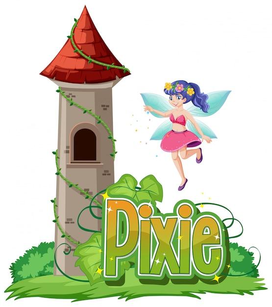 Logo pixie con fatine su sfondo bianco Vettore gratuito