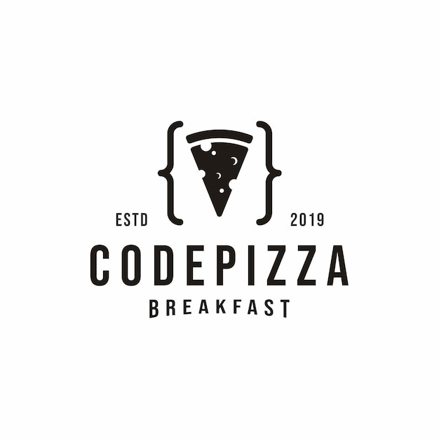 Logo pizza codice vintage Vettore Premium