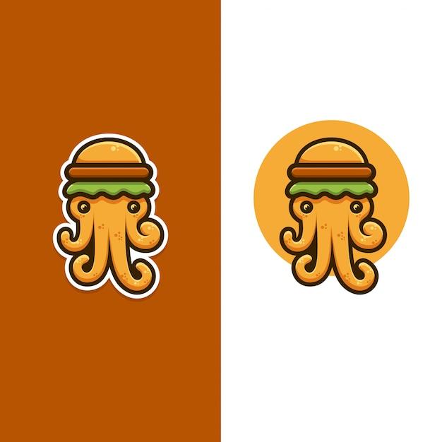 Logo polpo e hamburger Vettore Premium