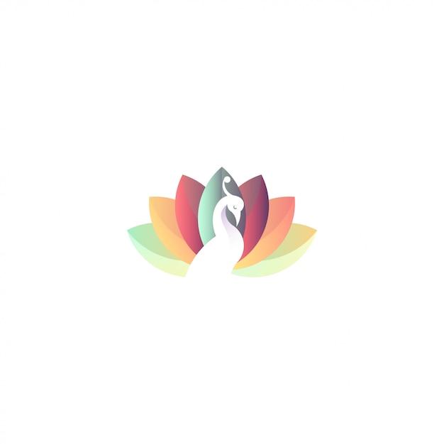 Logo premium di pavone e loto Vettore Premium