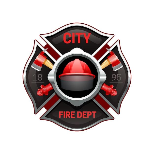 Logo realistico dell'organizzazione del corpo dei vigili del fuoco della città Vettore gratuito