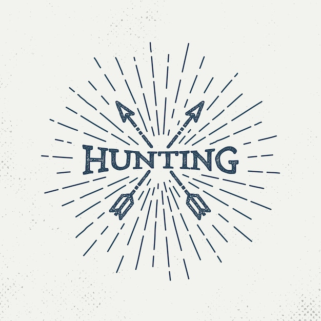 Logo retro caccia Vettore Premium