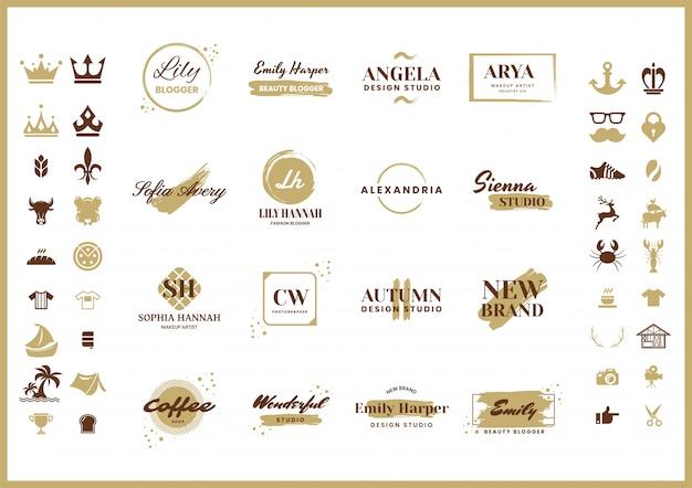 Logo retrò femminile per banner Vettore Premium