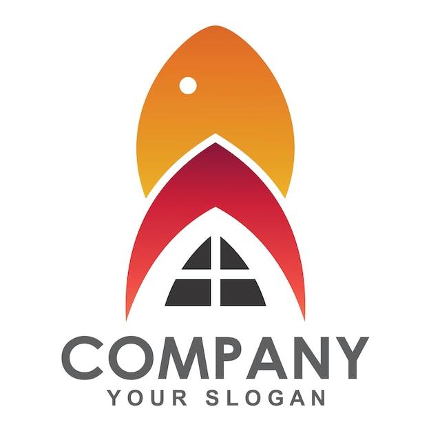 Logo ristorante di pesce, logo aziendale frutti di mare Vettore Premium