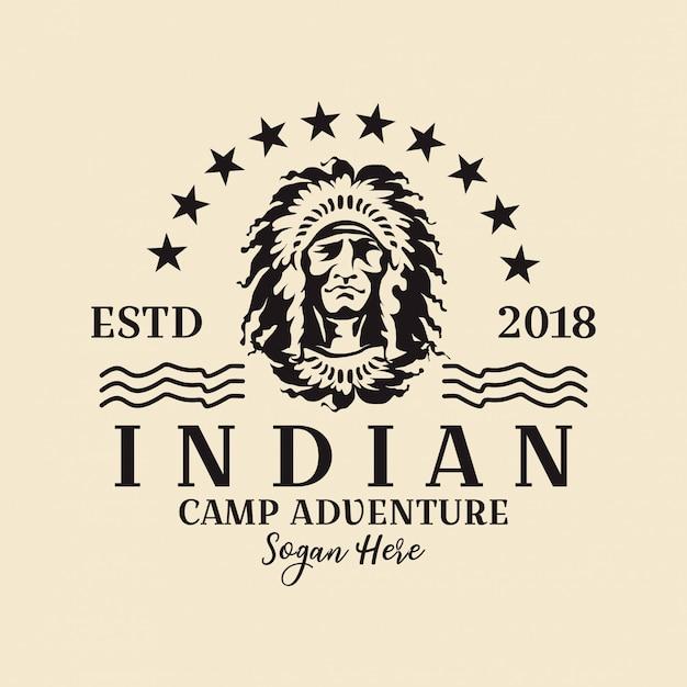 Logo rotondo indiano americano Vettore Premium
