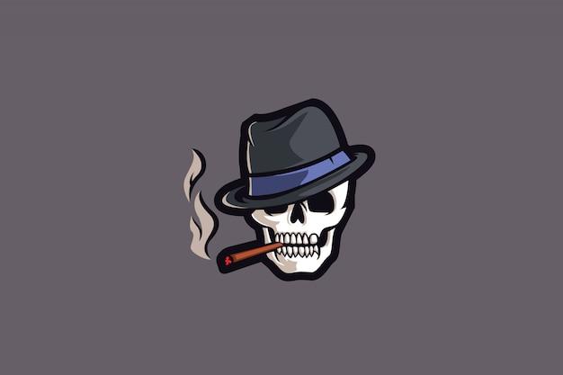 Logo scheletro smoke e sports Vettore Premium