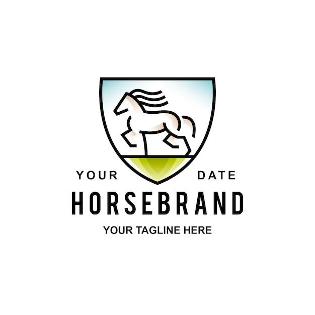 Logo scudo cavallo selvaggio Vettore Premium