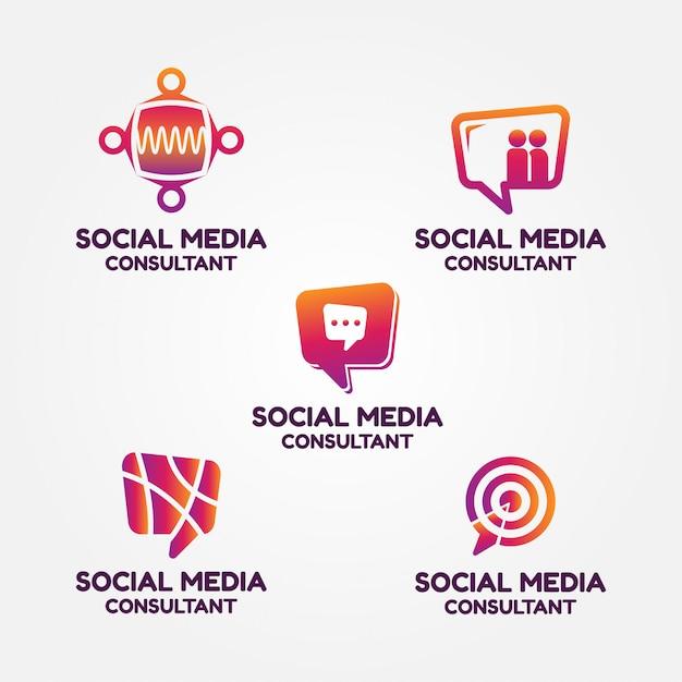 Logo set di consulente di social media Vettore Premium