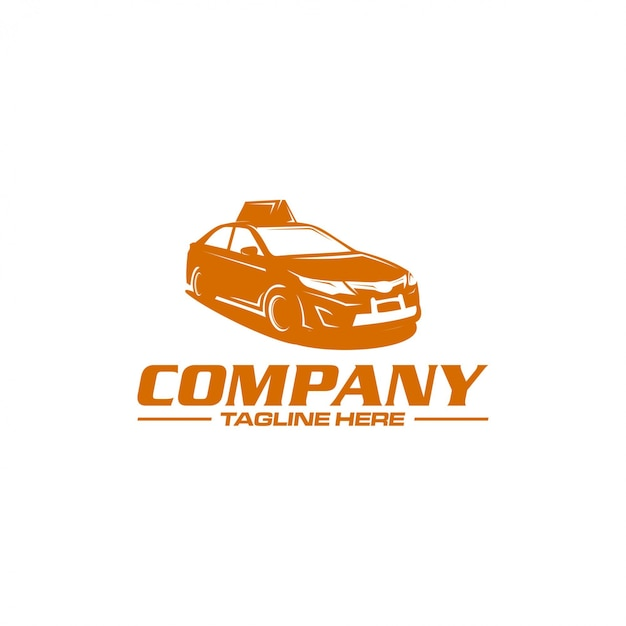 Logo silhouette taxi Vettore Premium