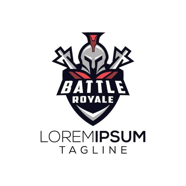 Logo spartano battaglia royale Vettore Premium