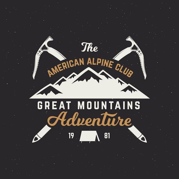 Logo spedizione vintage mountain. distintivo di avventura all'aperto con simboli di arrampicata e design tipografia isolato Vettore Premium