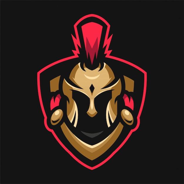 Logo sport testa di mascot spartan Vettore Premium