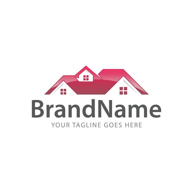 Logo sul tetto di casa Vettore Premium