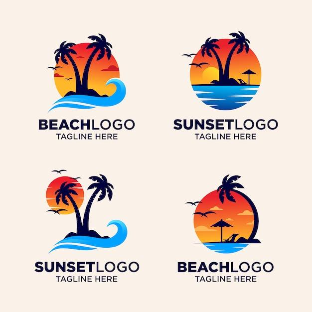 Logo sunset beach Vettore Premium
