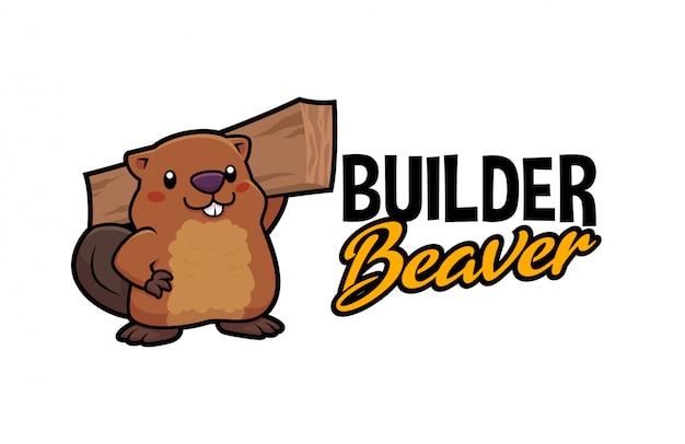 Logo sveglio del carpentiere builder beaver character mascot del fumetto Vettore Premium