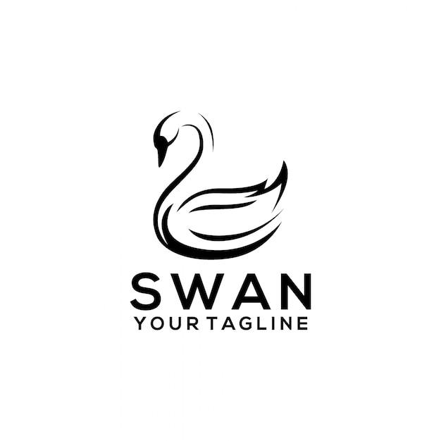 Logo swan Vettore Premium