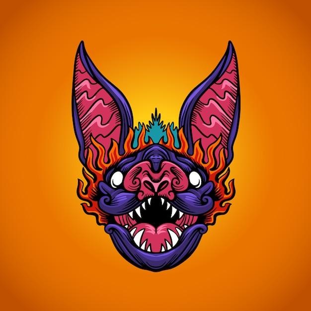 Logo testa di pipistrello Vettore Premium