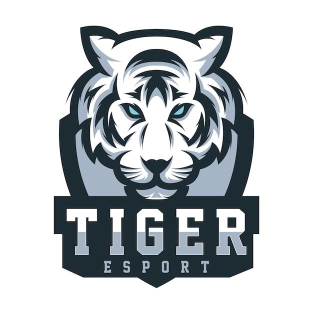 Logo tigre di design per lo sport di gioco Vettore Premium