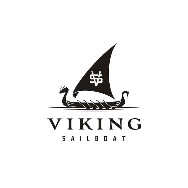 Logo tradizionale vintage viking ship boat silhouette con lettera iniziale vs sv vs Vettore Premium