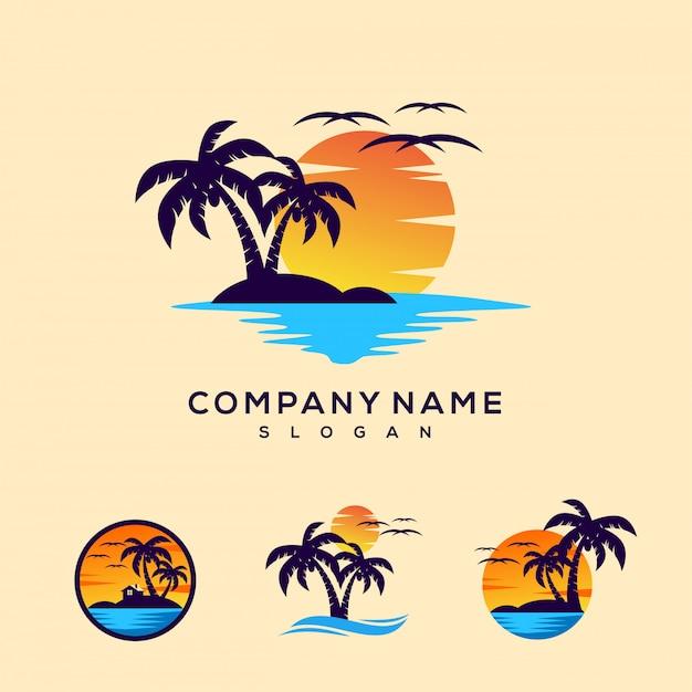Logo tramonto Vettore Premium