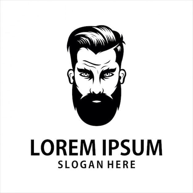 Logo uomo barba arrabbiata Vettore Premium