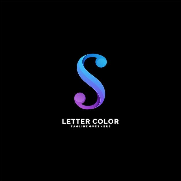 Logo variopinto dell'illustrazione di pendenza astratta della lettera s. Vettore Premium