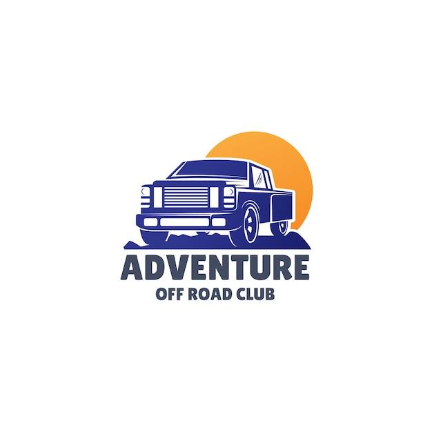 Logo vettoriale fuoristrada con suv Vettore Premium