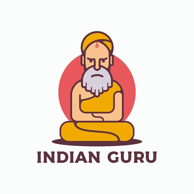 Logo vettoriale guru indiano Vettore Premium