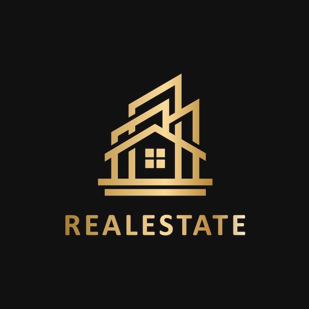 Logo vettoriale modello geometrico immobiliare Vettore Premium