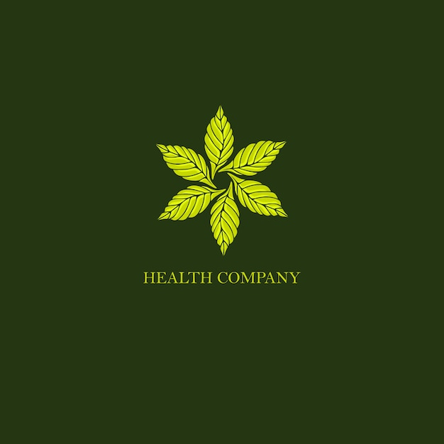 Logo vintage arrotondato foglie Vettore Premium