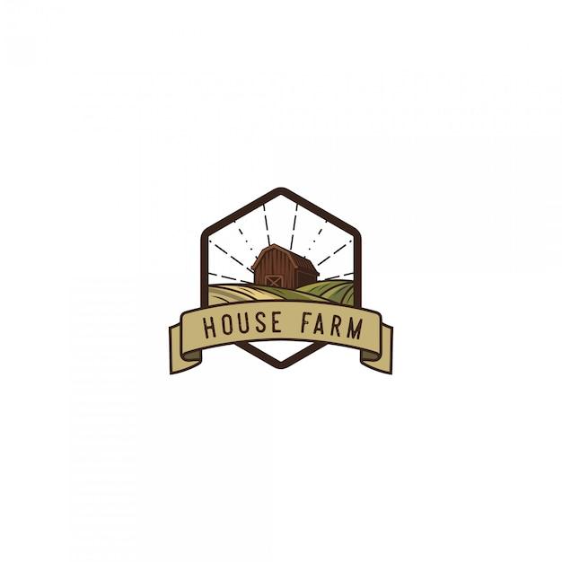 Logo vintage di agricoltore di casa Vettore Premium