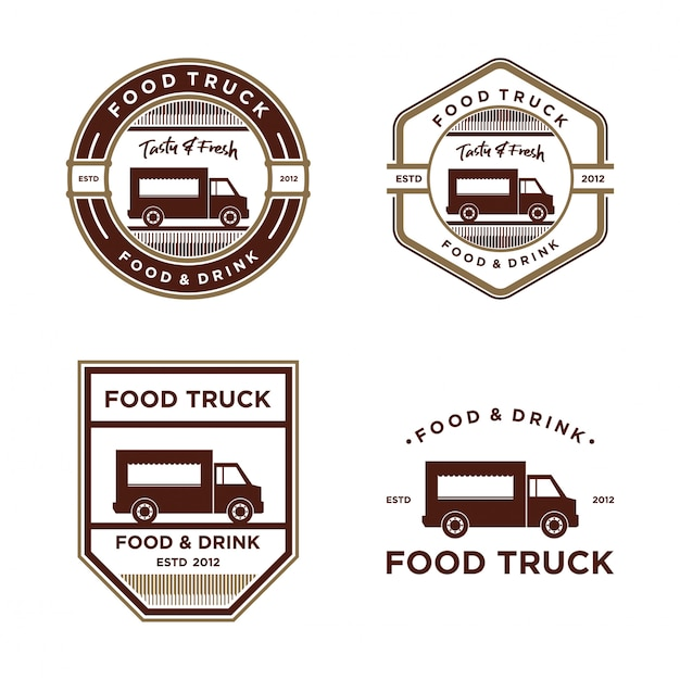Logo vintage di cibo camion Vettore Premium