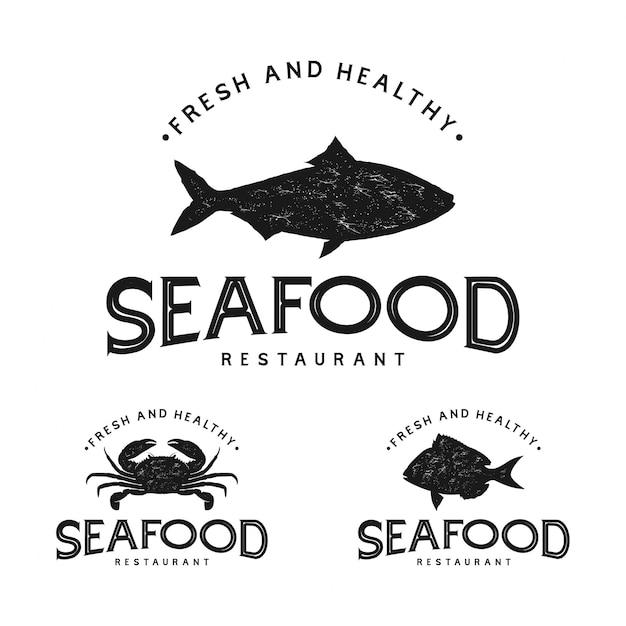 Logo vintage di frutti di mare Vettore Premium