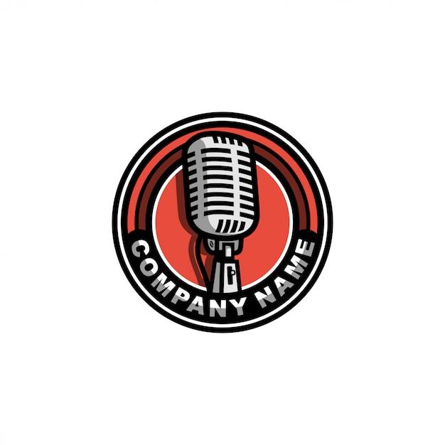 Logo vintage mic Vettore Premium