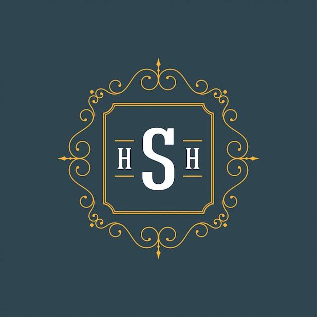 Logo vintage ornamenti eleganti fiorisce Vettore Premium