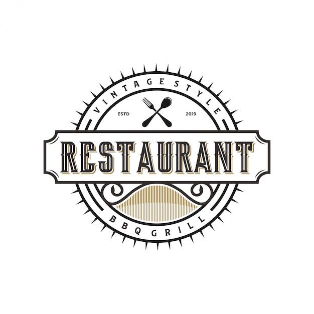 Logo vintage per cibo e bevande del ristorante Vettore Premium