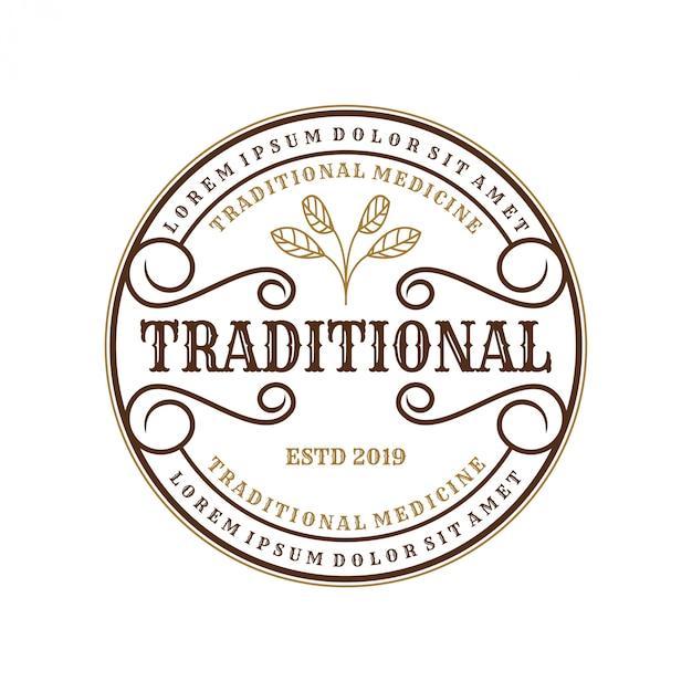 Logo vintage per medicine tradizionali per l'etichetta del marchio Vettore Premium