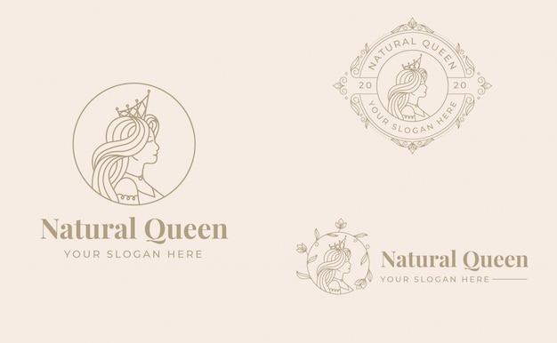 Logo vintage regina design con modello distintivo Vettore Premium