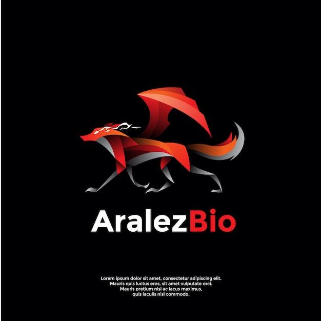 Logo volpe alata Vettore Premium