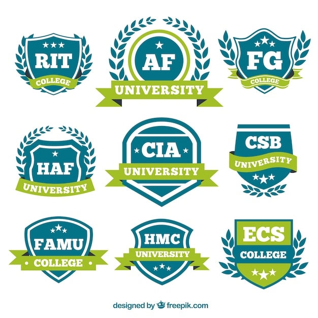 Logos con nastri verdi per il college Vettore gratuito